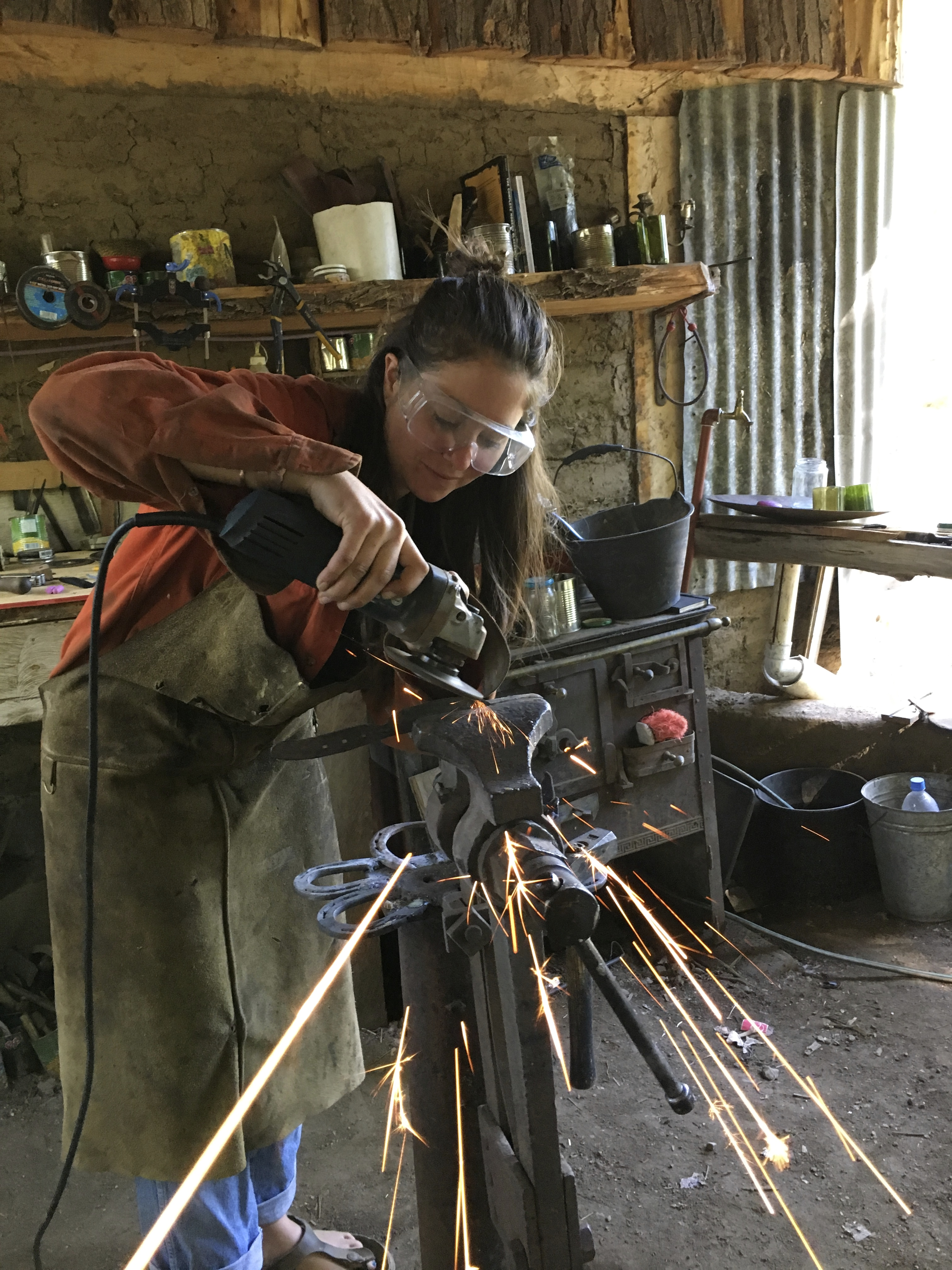 Hand forging a knife at the ranch Estancia Ranquilco in Patagonia Argentina