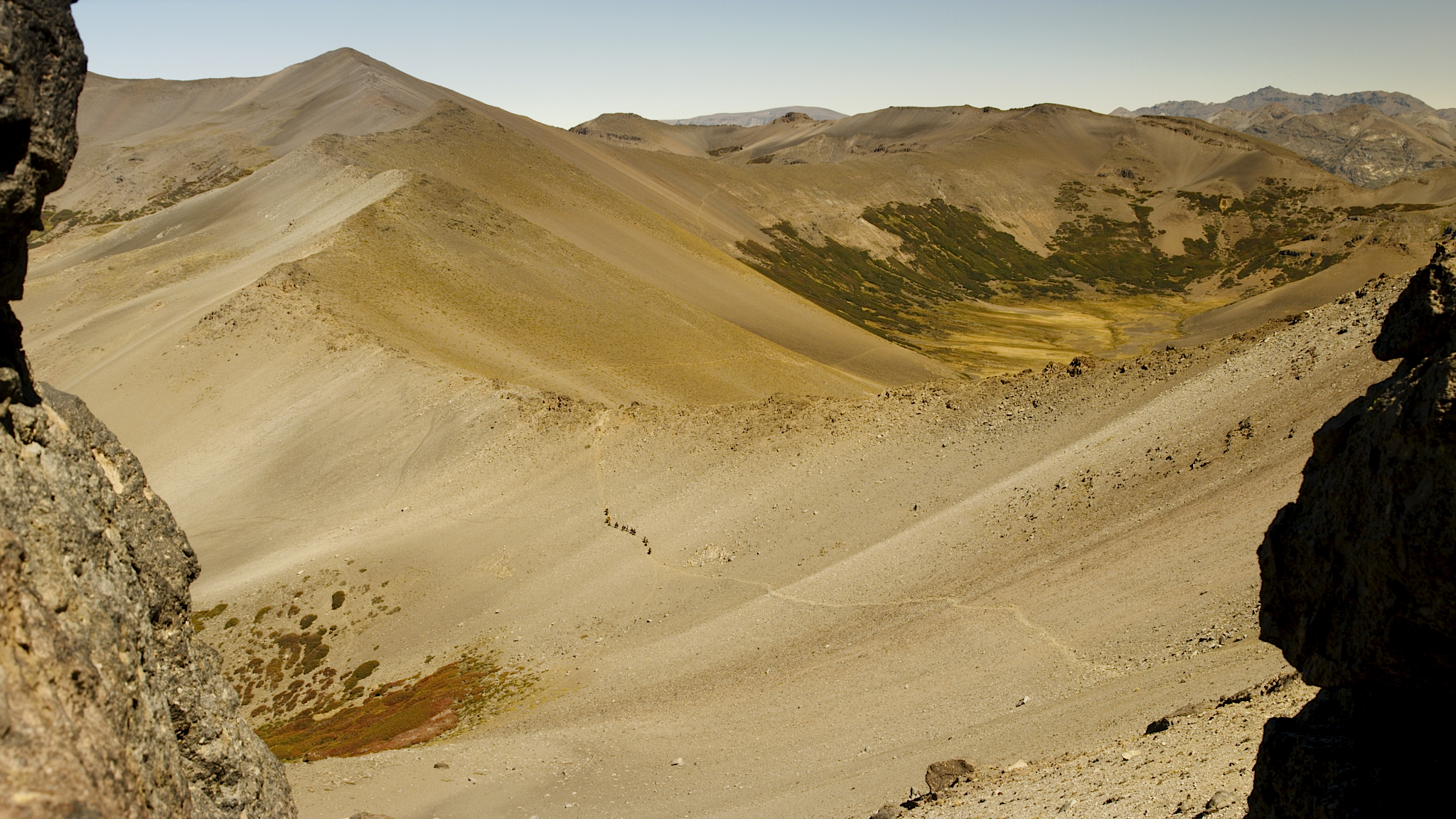 View of mountains and riders on an Estancia Ranquilco pack trip into the Andes