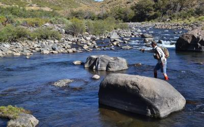 Fly fishing on a Patagonian river