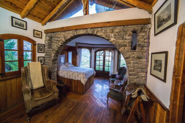 Image of the handcrafted stonework accommodation - The Castle Room at Estancia Ranquilco