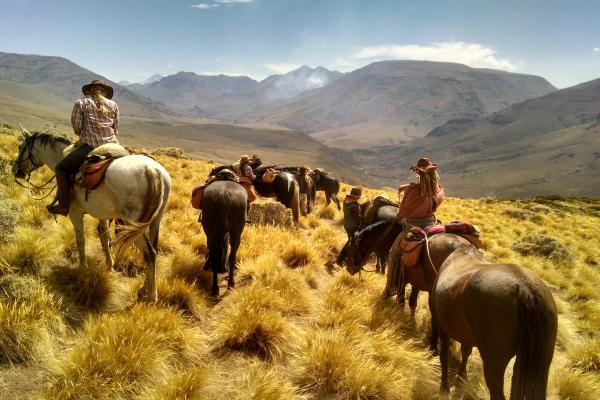 Women riding horses through Patagonia Argentina