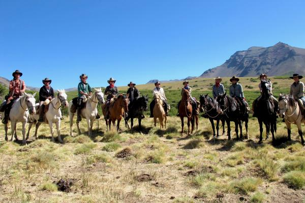 Women on horses during women's pack trip at Estancia Ranquilco