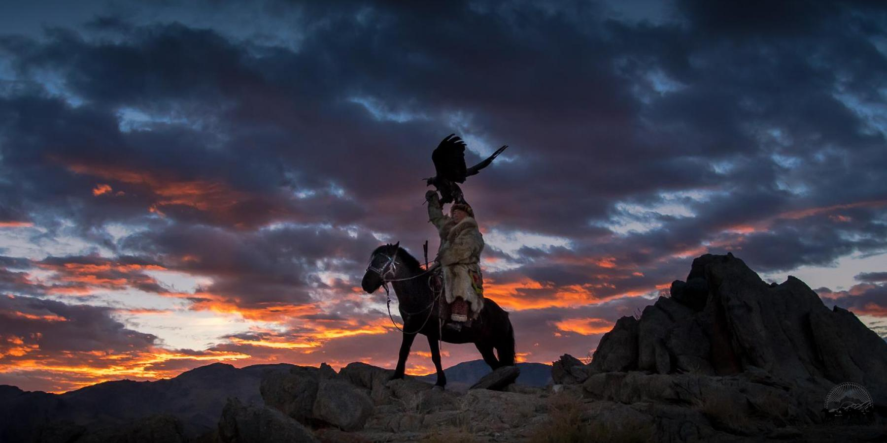 Kazakh eagle hunter mounted on horse with eagle on arm in western Mongolia with Estancia Ranquilco
