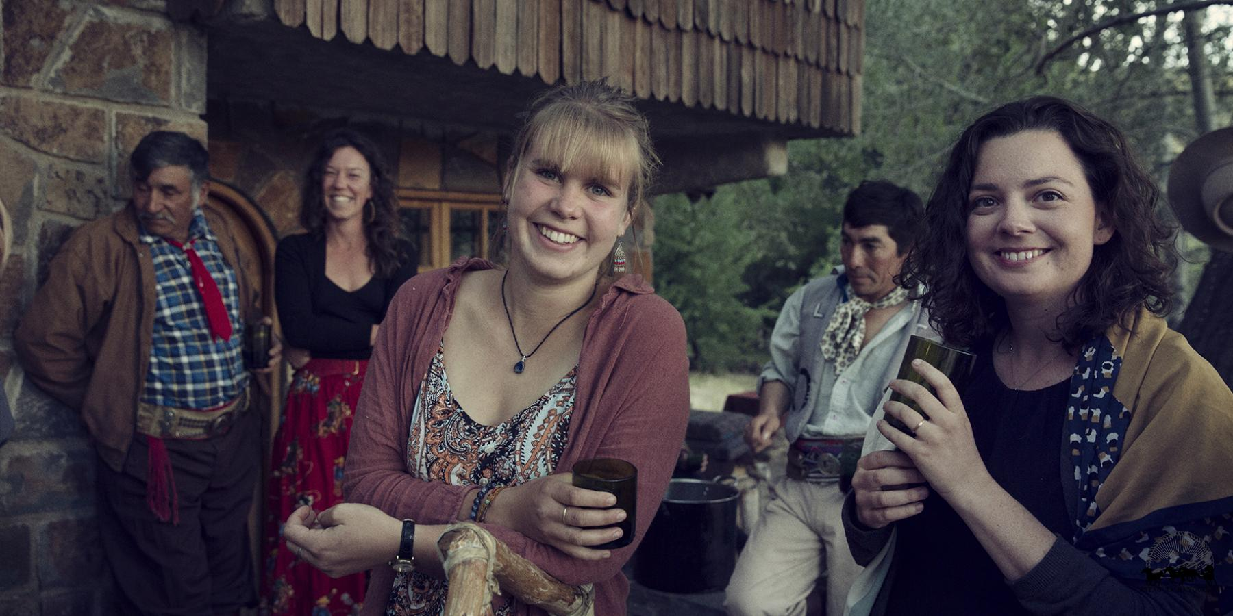 Friends at a community asado in Patagonia