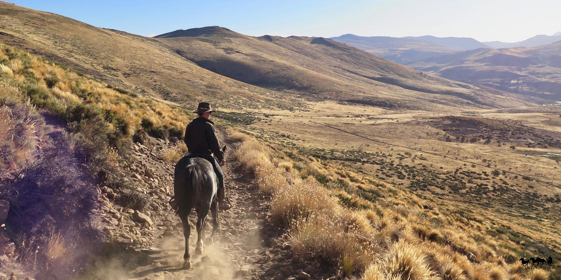 Arriving to Estancia Ranquilco by horse in Patagonia Argentina
