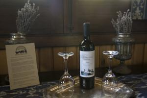a bottle of wine awaits guests in the castle room