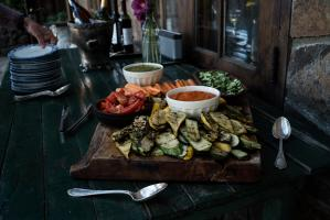 Platter of homegrown vegetable served for dinner at Estancia Ranquilco