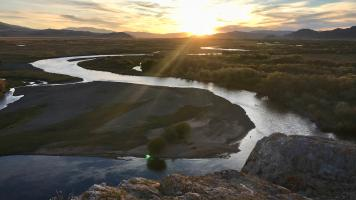 Perched above the Delgermurun River at a ger camp on our last night in Northern Mongolia with Estancia Ranquilco.
