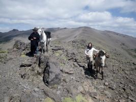 Women riders high in the mountains on a pack trip in Patagonia