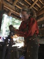 Intern making a knife at Estancia Ranquilco ranch in Patagonia Argentina