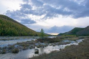 Evening light on the river in Northern Mongolia on multi-day horse trek