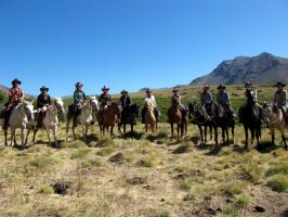 Horses and riders on an adventure vacation in Patagonia Argentina