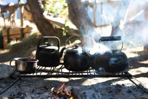 Heating maté water over a fire in the Andes on a mountain horsepack trip