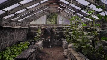 Woman watering plants in the organic garden greenhouse at Estancia Ranquilco