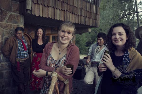 Friends at a community asado in Patagonia