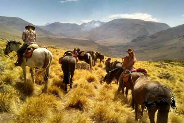 Women riding horses through Patagonia Argentina